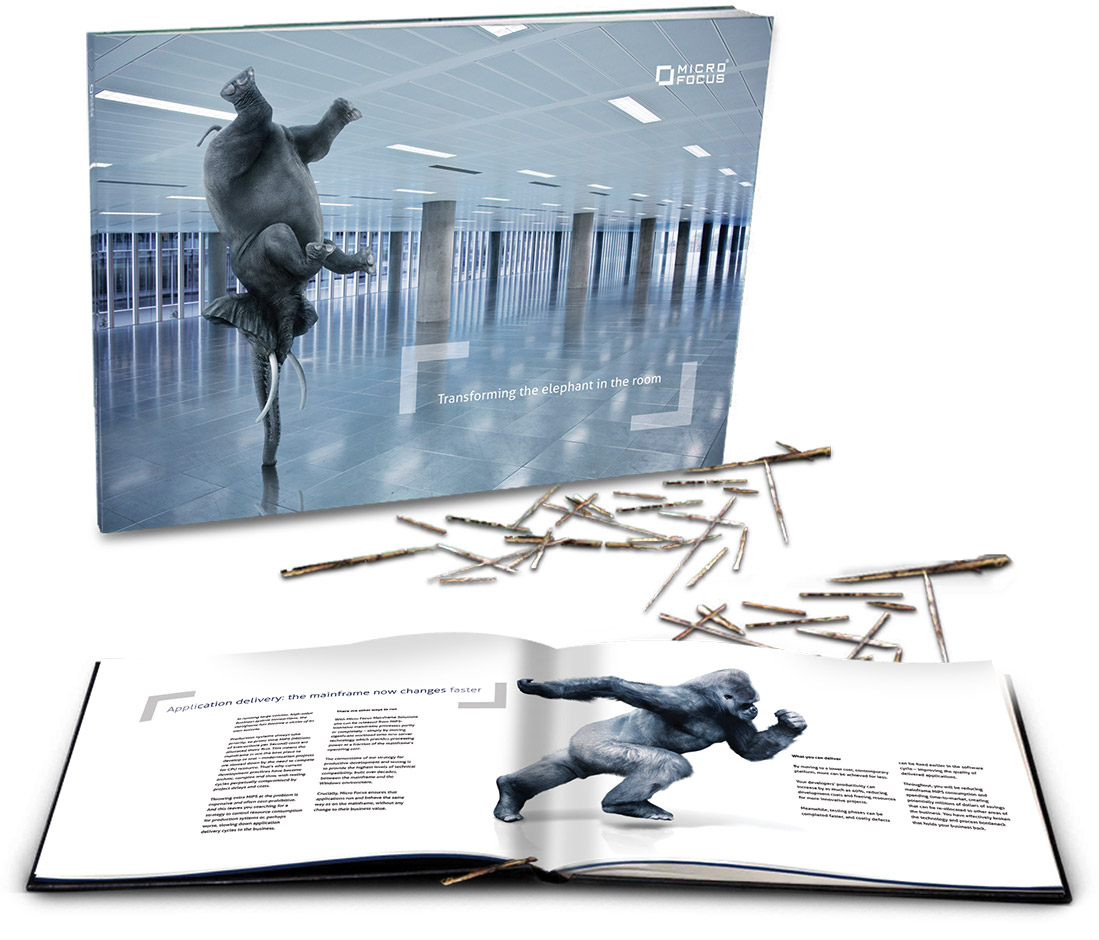 Elephant brochure – also used as a direct mail piece, with loose straw